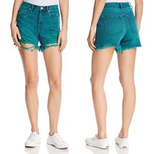 BLANKNYC Distressed Denim Shorts in Turquoise